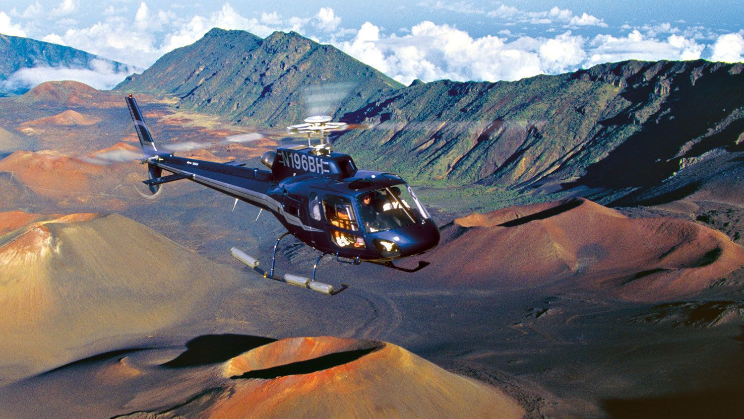 Aerial of helicopter over the Haleakala National Park in Maui
