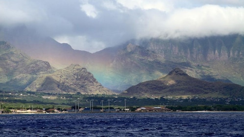 View of mountains along coast on Oahu