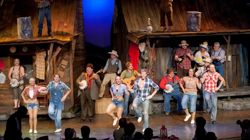 Ensemble dance routine onstage during the Hatfield and McCoy Dinner Show