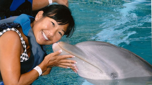Dolphin kissing a woman on the cheek at Sea Life Park on Oahu