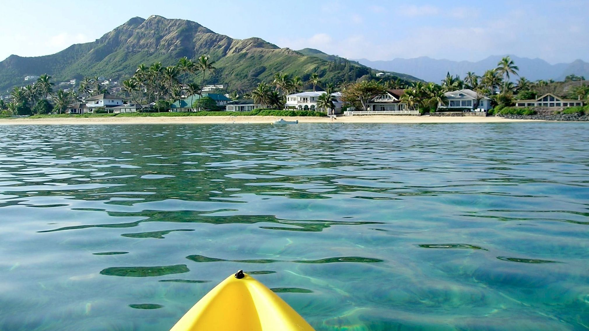 Looking at the coastline from a kayak in Oahu