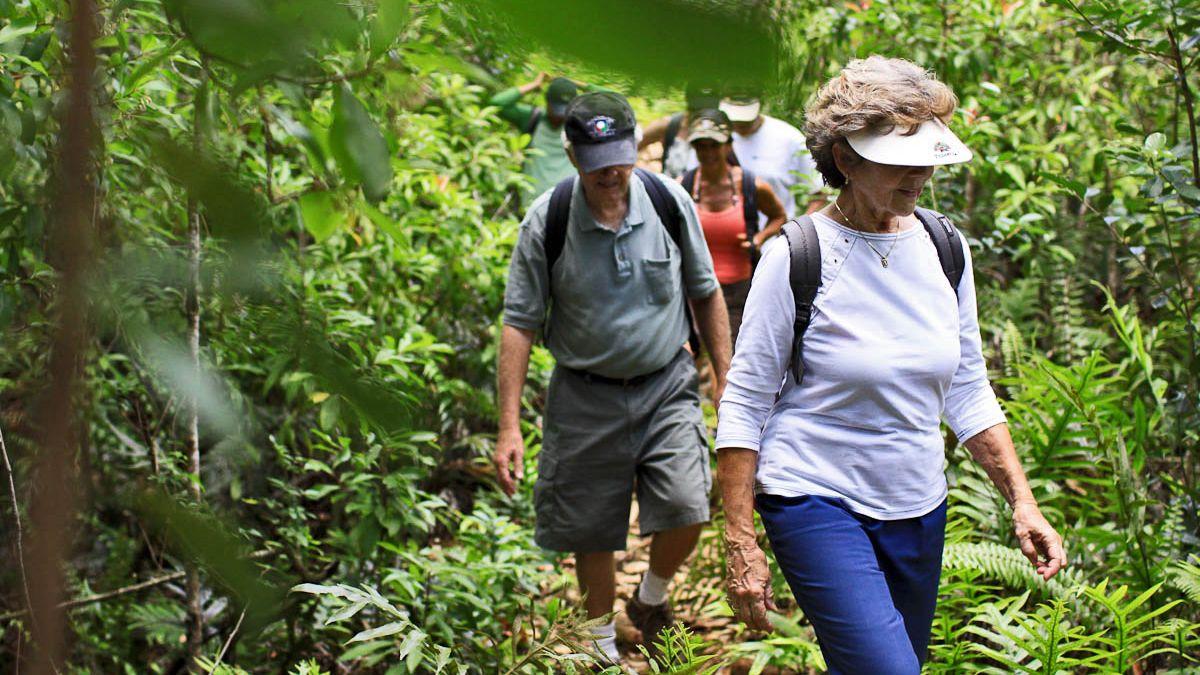 Group hiking in Kauai