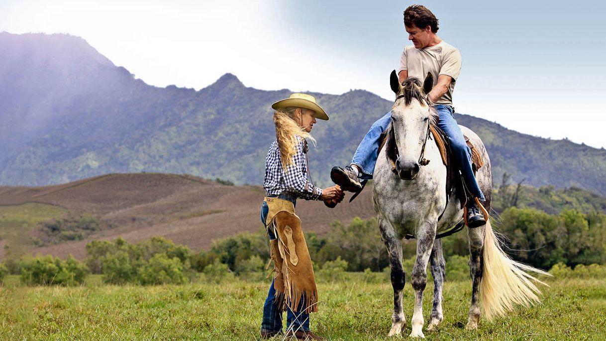 Man on a horse in Kauai