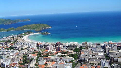 Aerial view of houses and coastline of Cabo Frio