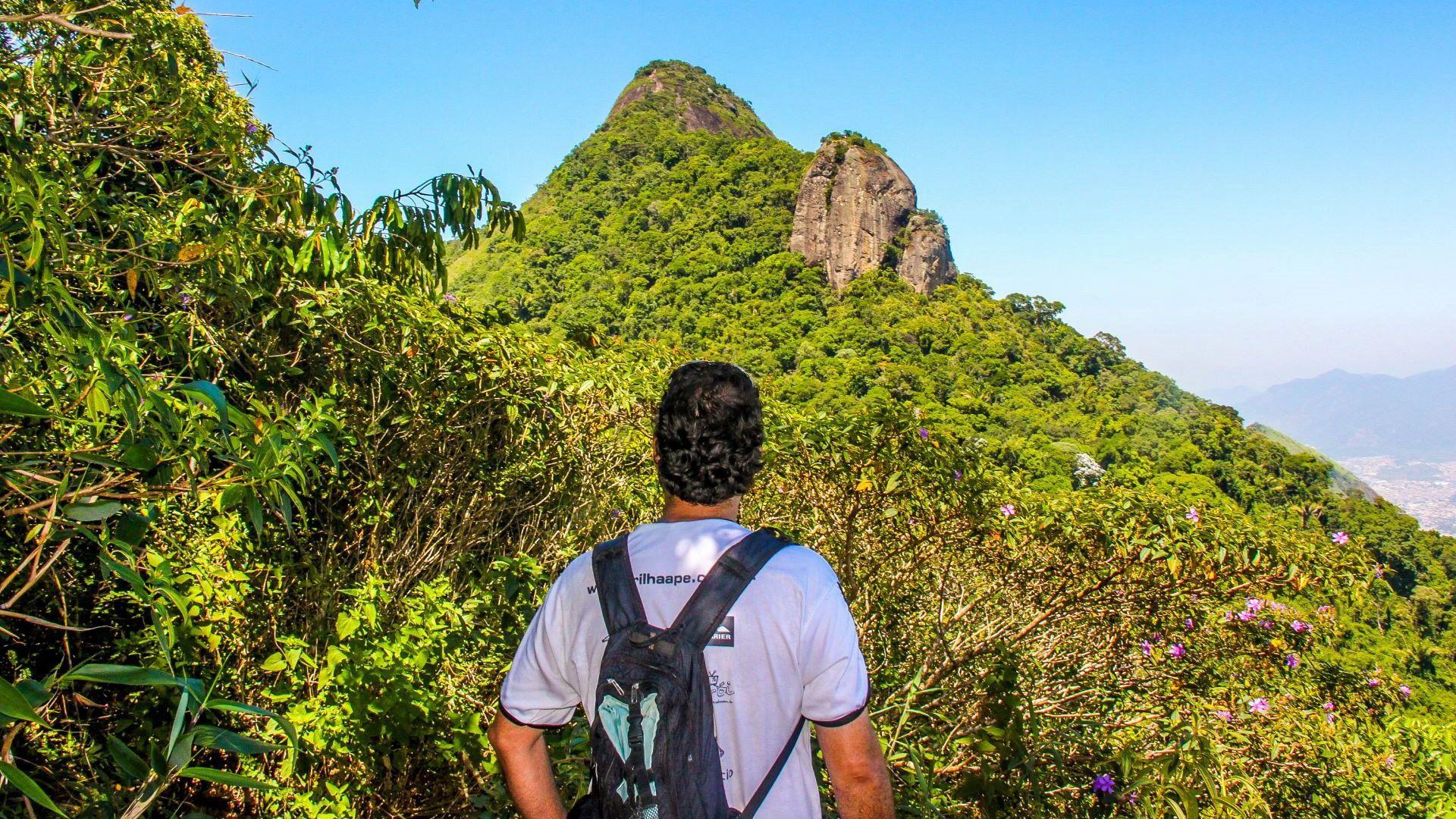 Hiking man at Tijuca National Park in Rio de Janeiro