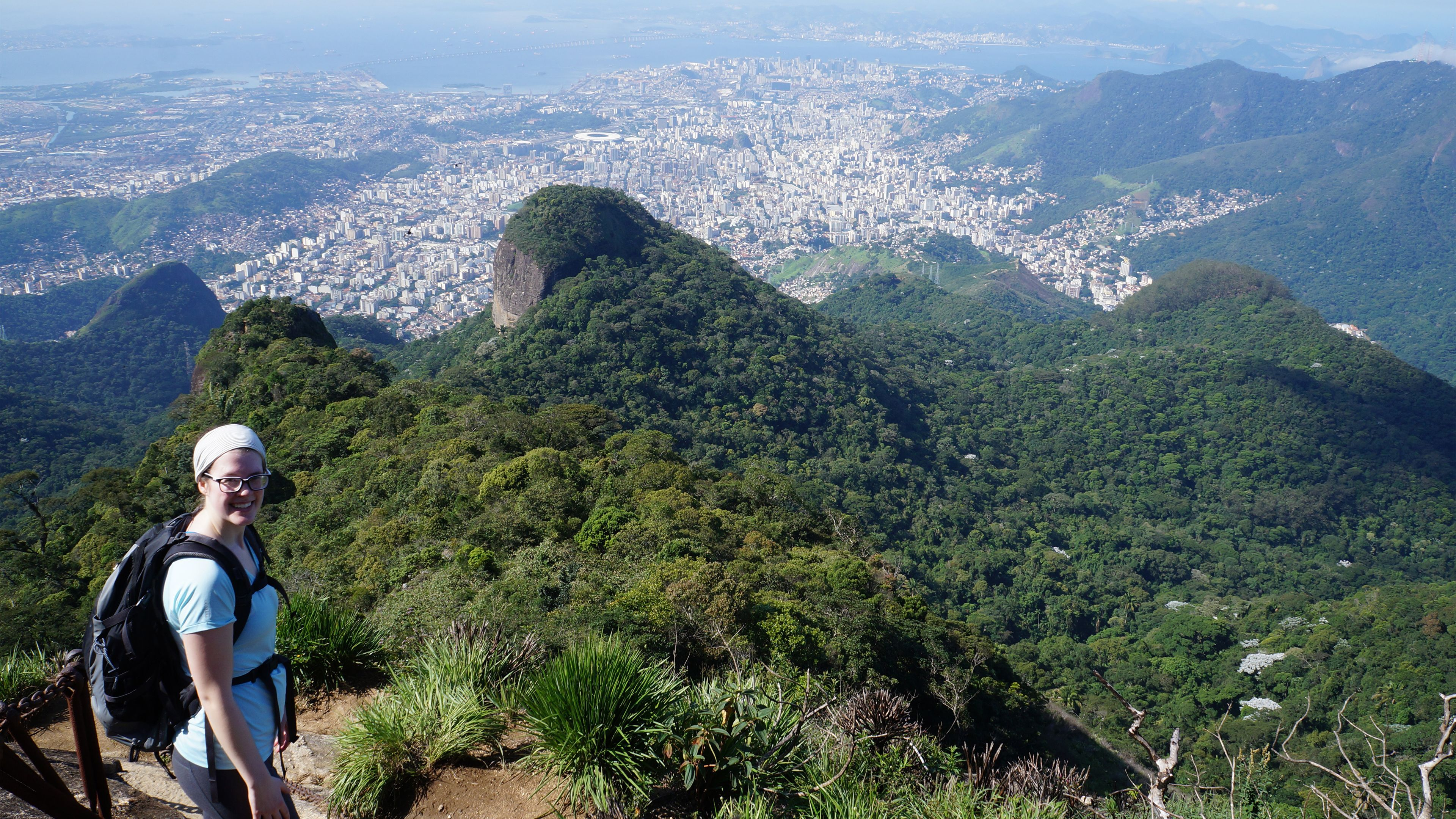 Woman at a scenic point in Tijuca National Park in Rio de Janeiro