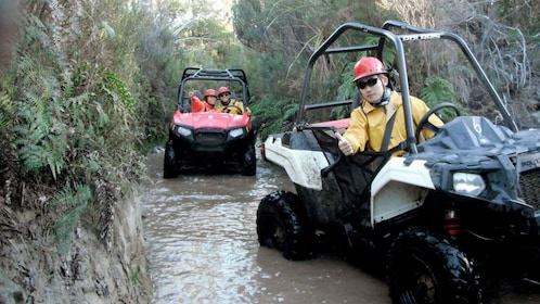 Buggies in a shallow river in New Zealand