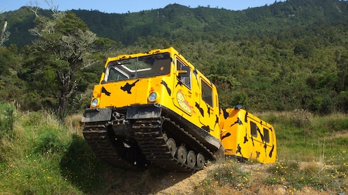 Hagglund all-terrain vehicle in a field in New Zealand