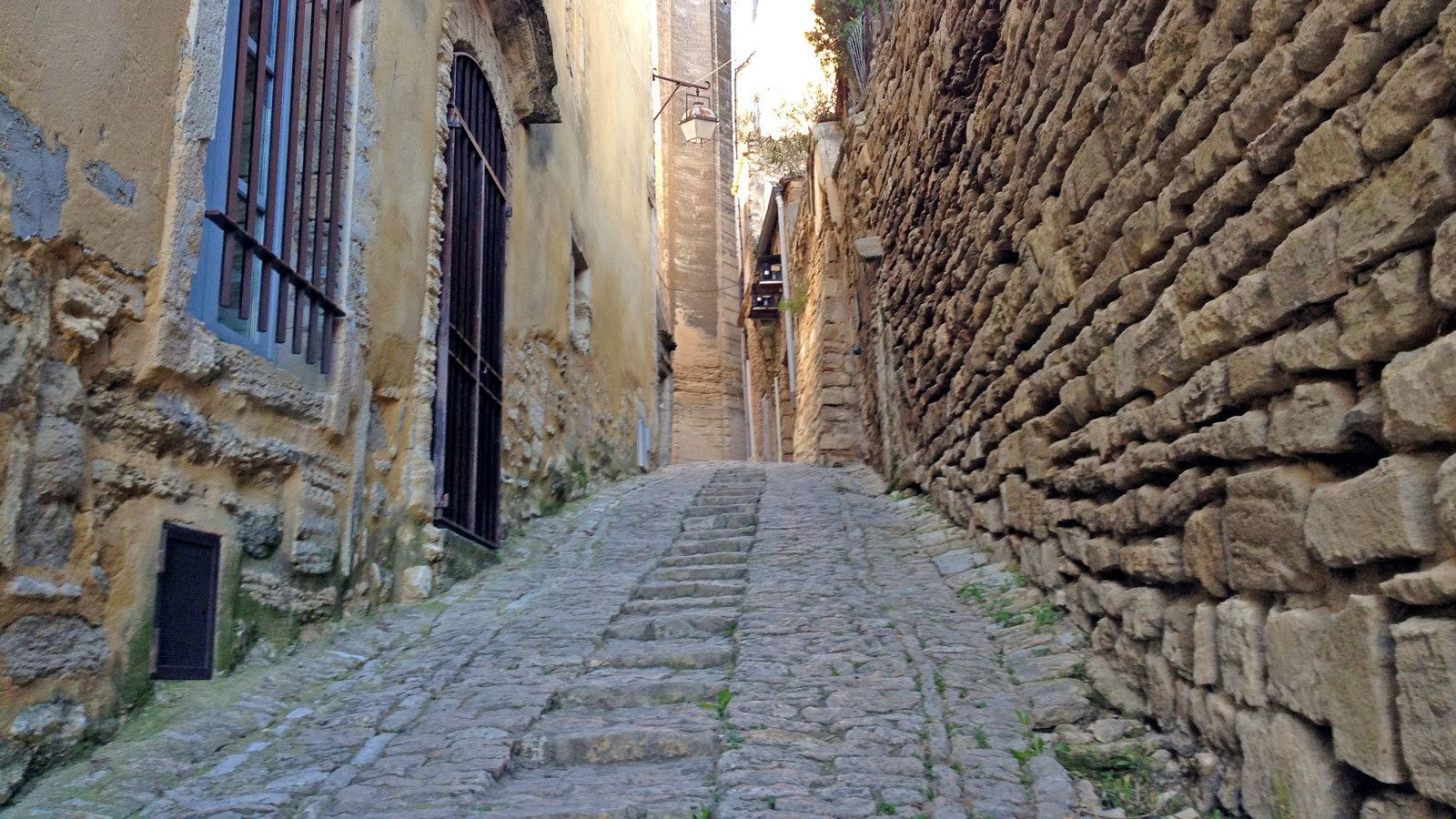 walking through the old stone roads in France