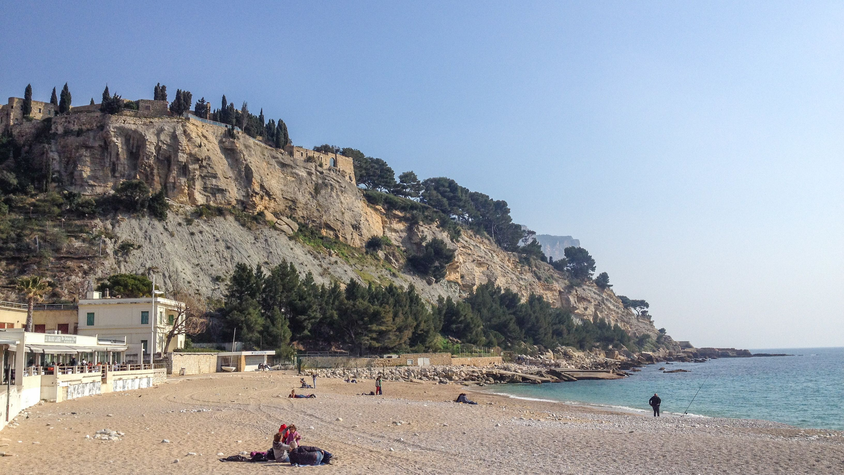 View of Cassis coast during the day.