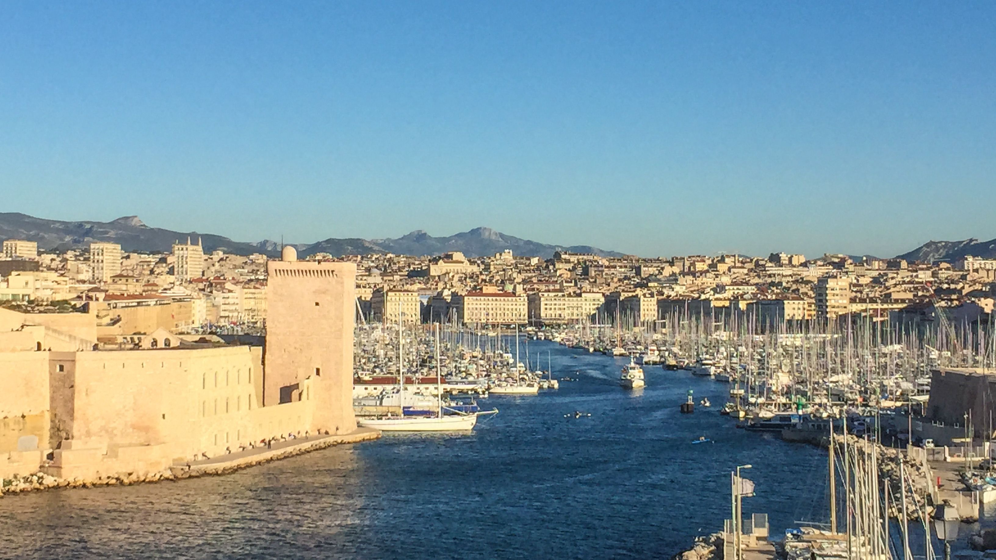 Aerial view of Marseille during the day.