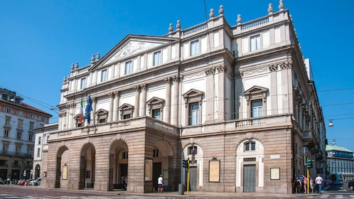 Angled exterior view of the historical Teatro alla Scala.