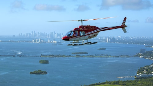 helicopter soaring above the coast in Florida