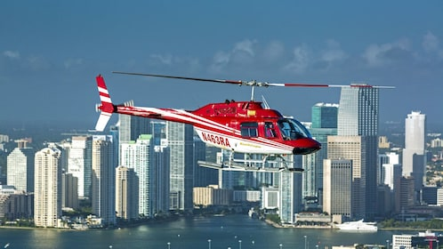helicopter flying above the city in Florida