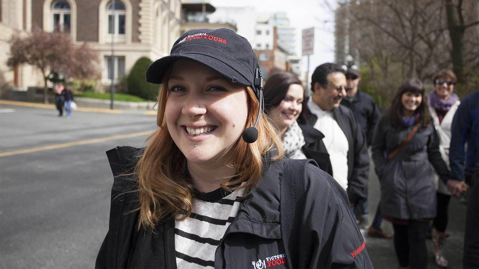 Tour guide on the Downtown Food Tour in Victoria BC