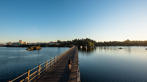 Bicyclist on a wooden bridge over a calm lake in Victoria