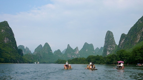 Group of boats on the Li River in Guilin