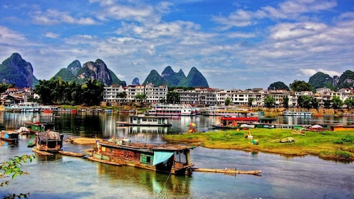 Village along the Li River in Guilin