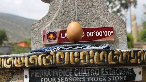 Egg balancing on end at zero degrees latitude in Quito