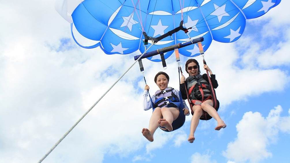 Show item 3 of 9. Friends on American flag parasail