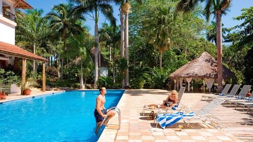 relaxing by the pool in Merida