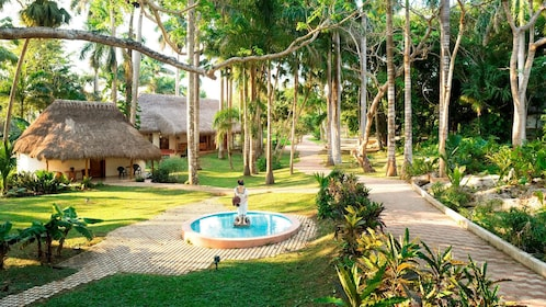walking through a resort in Merida