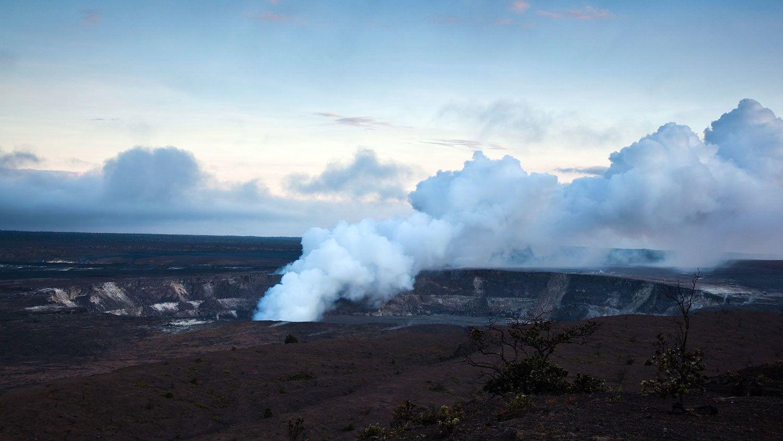 Smoking volcano in Hawaii