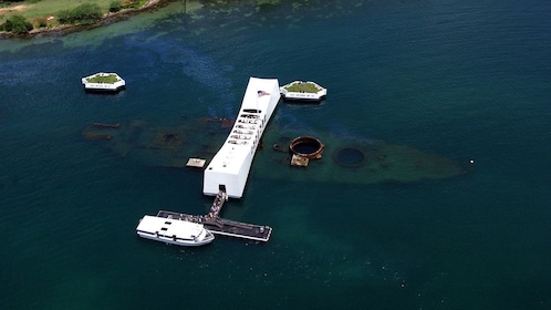 Memorial of resting place of 1,102 sailors and marines killed on the USS Arizona in the pacific ocean