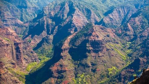 ariel view of mountain ridges in Kauai