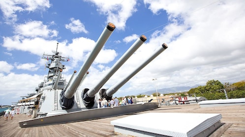Close up of gun turrets on Destroyer at World War two Pearl Harbor museum in Hawaii