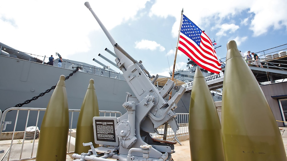 Show item 5 of 9. USS Missouri weapons close up in Oahu
