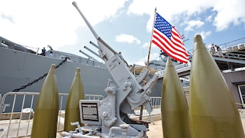 Show item 9 of 9. USS Missouri weapons close up in Oahu