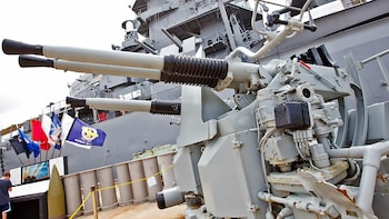 Show item 2 of 9. USS Missouri weapons close up in Oahu