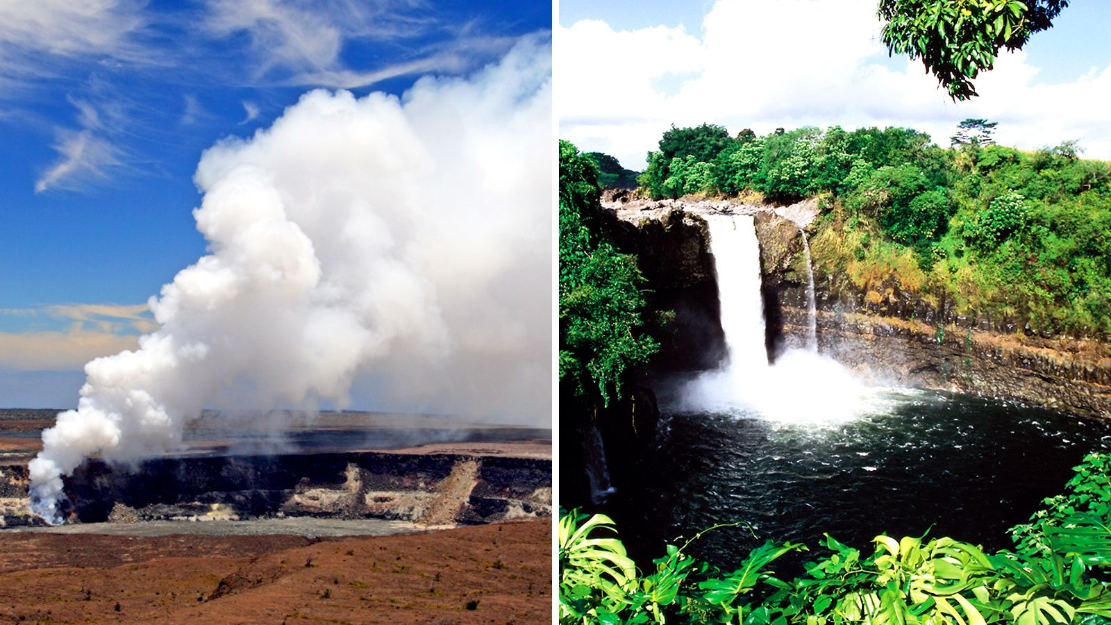 Combo image of volcanos and waterfall in Oahu