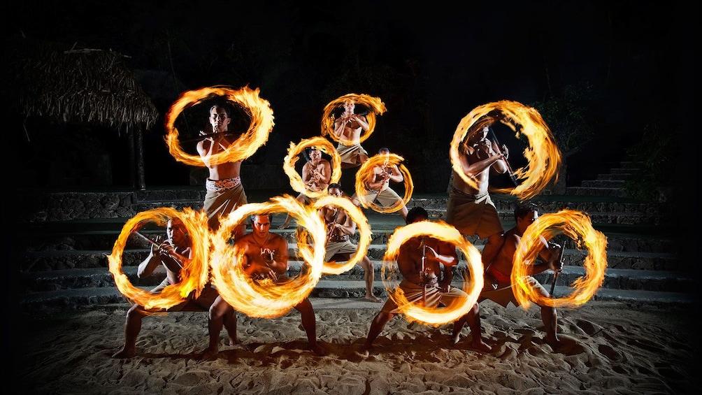 Fire dancing performers