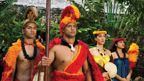 Performers reenact important events of Hawaiian history at the Polynesian Cultural Center