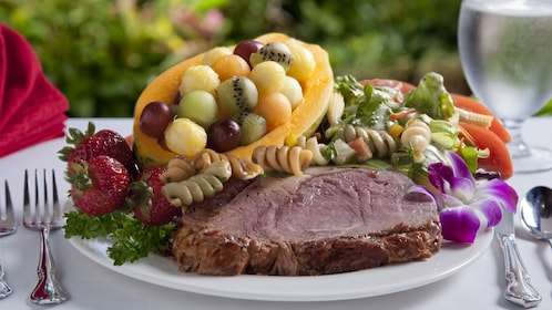 All you can eat prime rib and seafood buffet are featured in this package