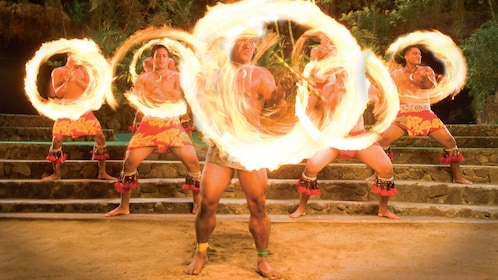 Fire dancers performing live onstage
