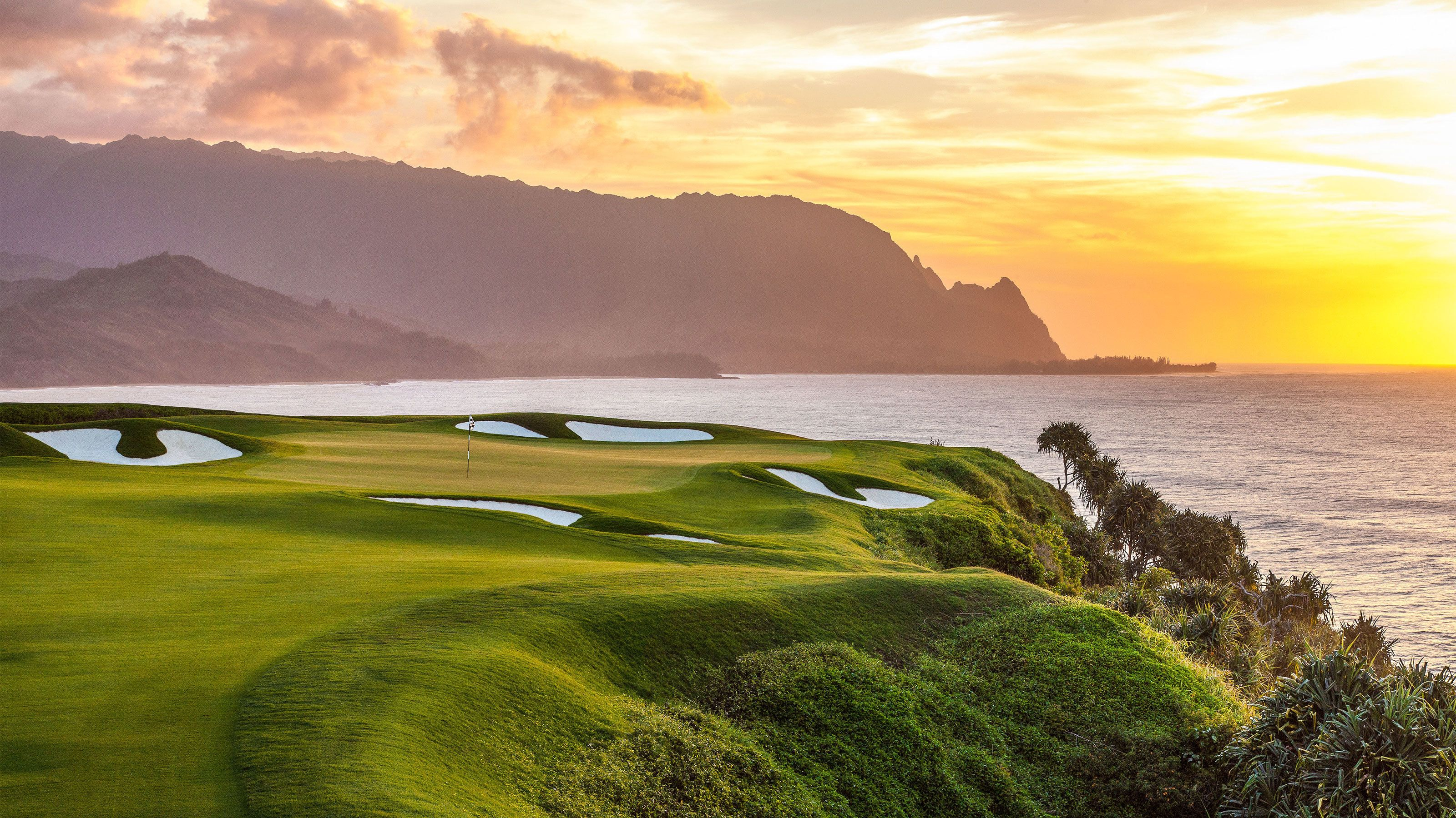 manicured lawns and sand traps at Makai Golf course in Kauai