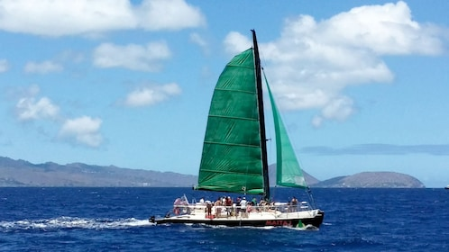 Catamaran traveling along the coast of Oahu