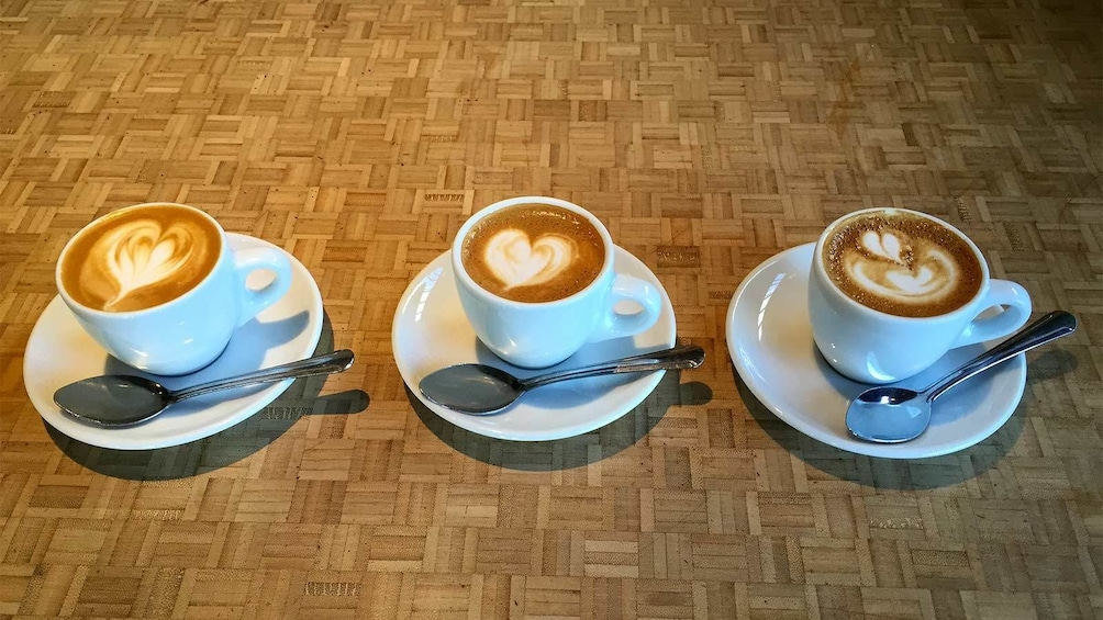 Three lattes at the Pioneering Eastside Roasters Coffee Tour in Portland