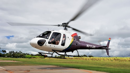 Helicopter about to take off in Kauai