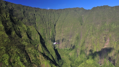Scenic view of a helicopter flying above Kauai