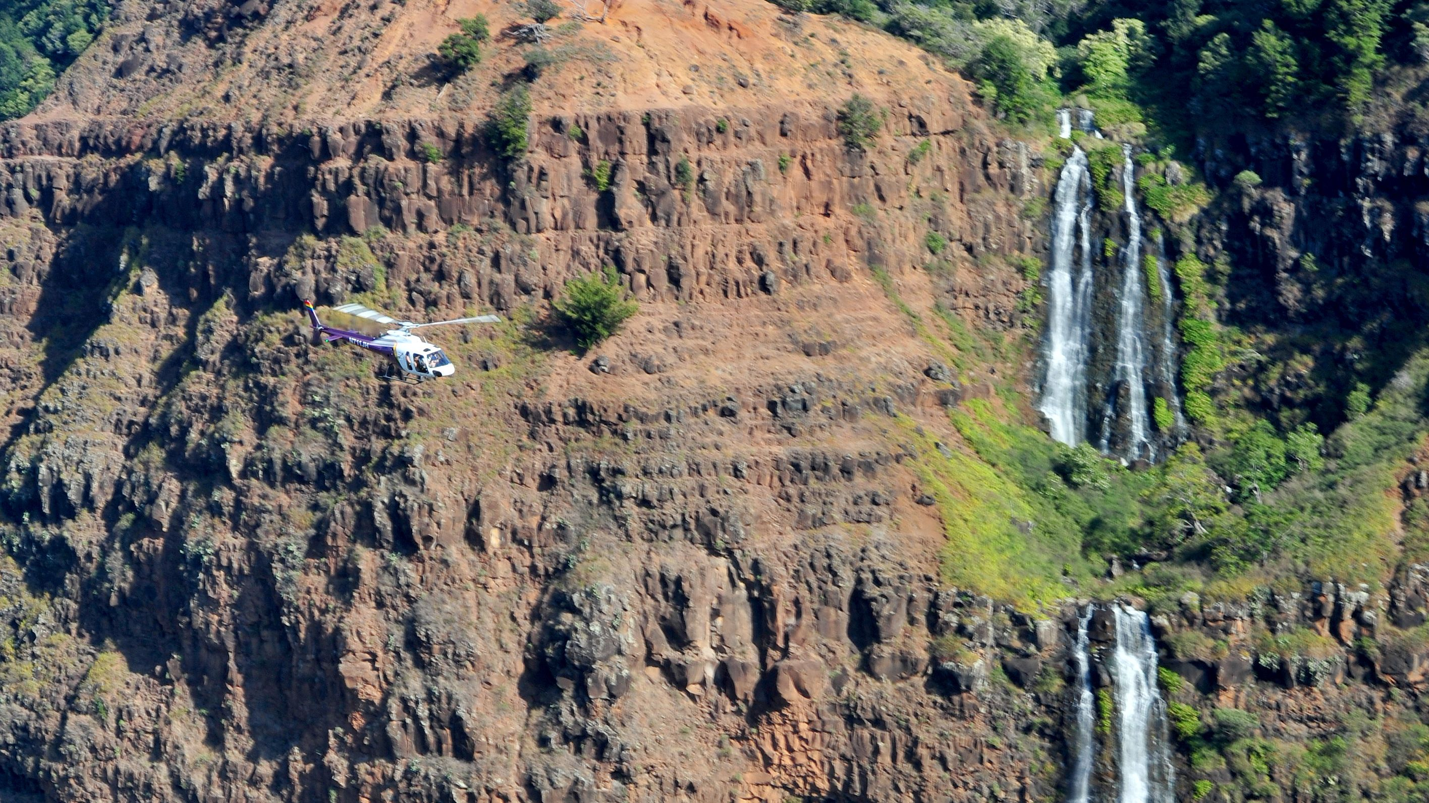 Stunning aerial view of Wailua Falls in Kauai