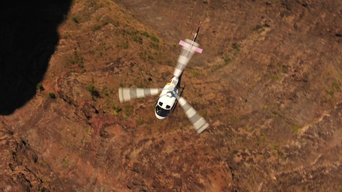 Aerial view of an helicopter in Kauai