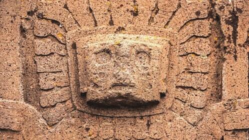 Close up of carving at Tiwanaku ruins.