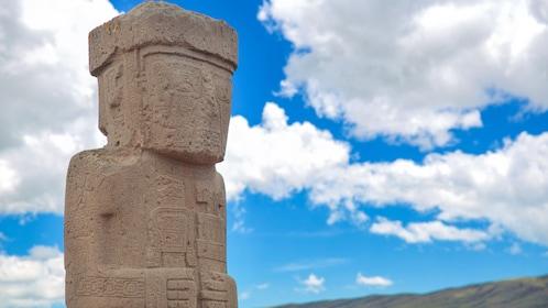 Close up of sculpture at Tiwanaku ruins.