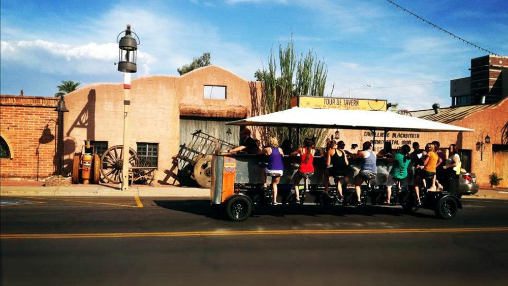 group peddling on the party bike in Phoenix