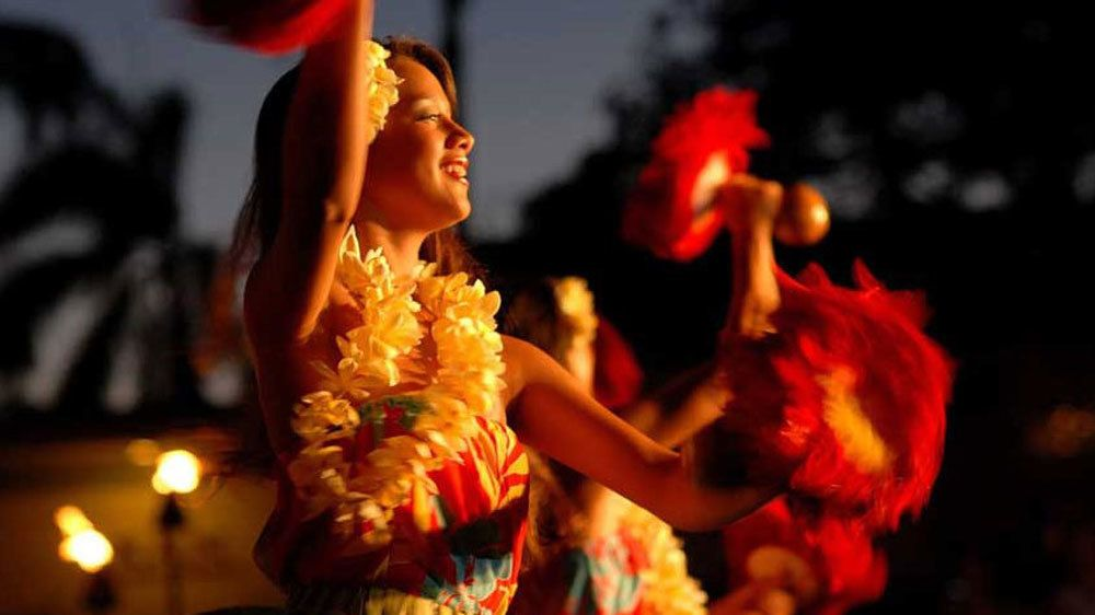 Hula dancers at Auli'i Luau in Kauai