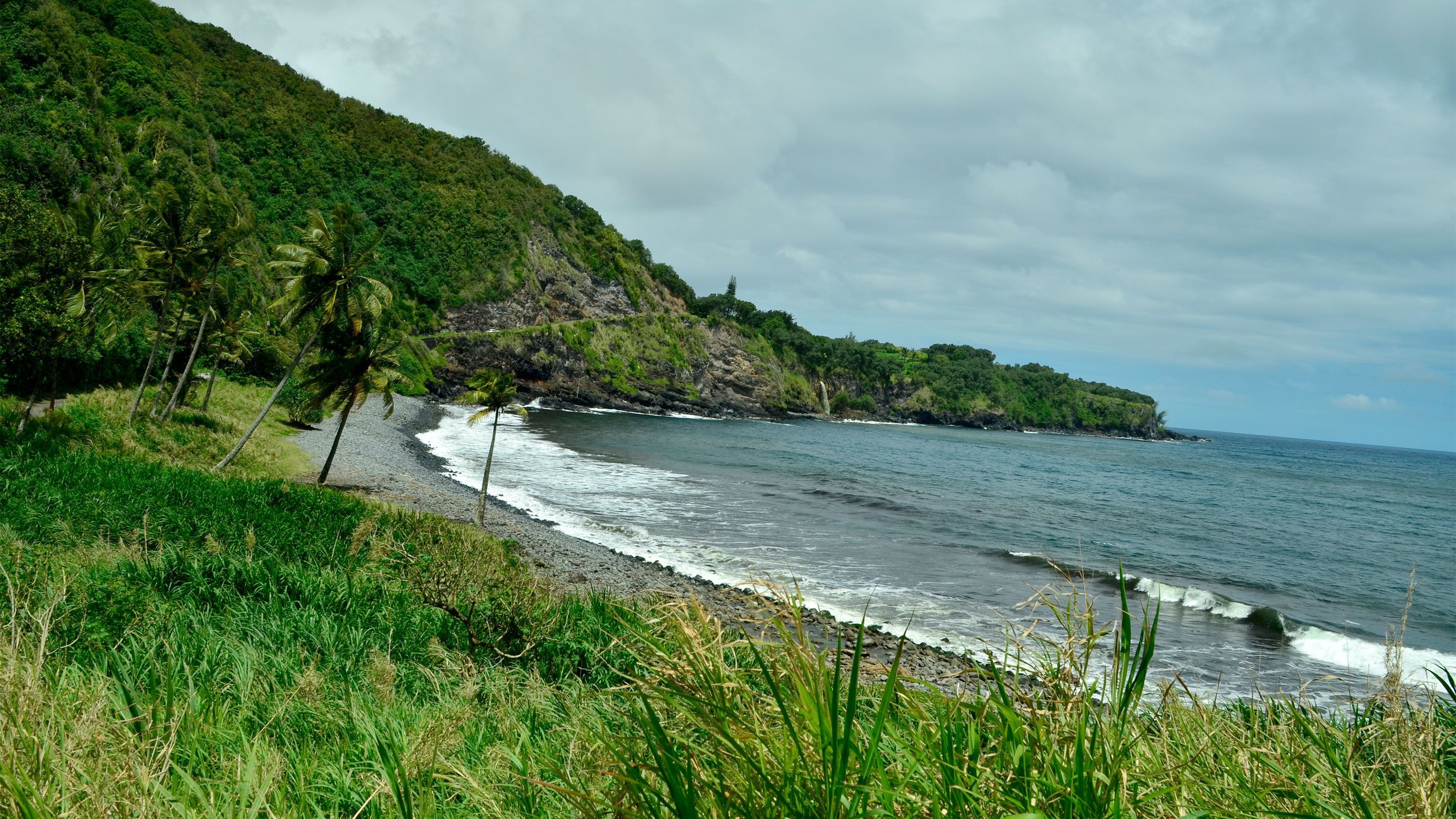 Lush green coastline of Hana in Maui
